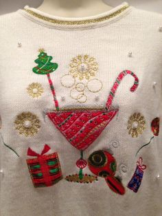 ff1e33727d38 White Martini Holiday ugly Christmas Sweater Scoop Neck tacky Medium   Unknown  ScoopNeck Happy Day