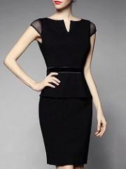 Black Short Sleeve Peplum Dress - SALE!!