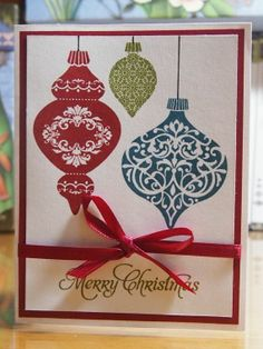 Handmade Christmas card using the Ornament Keepsakes stamp set by Stampin Up. Available on Etsy.