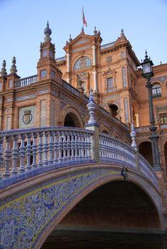 Seville, Spain. Puente en la Plaza de Espana.