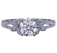 Round Diamond Butterfly Engagement ring Pave Split Band in 14K White Gold