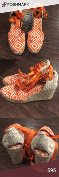 Tory Burch Wedges Very pretty orange and white espadrilles. Have small opening at the back of heel. String ties up around Ankle/leg. Tory Burch Shoes Espadrilles