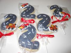#2 Road Cookies- Cars Birthday Cookies on a stick