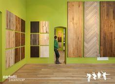 #parkett #ausstellung #wien #schauraum #echtholz #landhausdiele Divider, Furniture, Home Decor, Timber Wood, Decoration Home, Room Decor, Home Furnishings, Home Interior Design, Room Screen