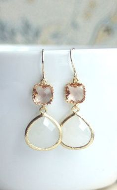 Peach Champagne Gold White Opal Glass Earrings