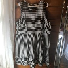 Summer Dress Denim colored and cream strips~ great back zipper ... Never worn but tags removed Forever 21 Dresses