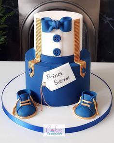 Royal Blue Cake, Royal Blue And Gold, Baby Birthday Cakes, Baby Boy Cakes, Boy Baby Shower Cakes, Fondant Cakes, Cupcake Cakes, Buttercream Cake, Little Man Cakes