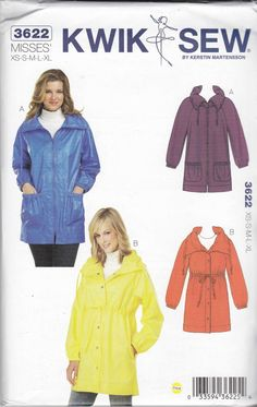 Kwik Sew New Uncut Pattern # 3313 Misses Sizes XS-XL Jackets /& Flowers