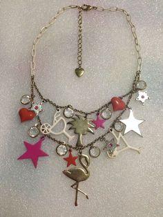 Betsey Johnson Necklace  Flamingo Stars Cocktails  Rare HTF #BetseyJohnson #Statement