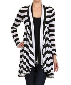 Loving this Black & White Stripe Open Cardigan - Women on #zulily! #zulilyfinds