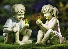 Little Girl w/ Firefly Jar Outdoor Garden Statue from Collections Etc.