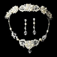 Swarovski Crystal & Freshwater Pearl Bridal Jewelry & Tiara Set (Silver or Gold)