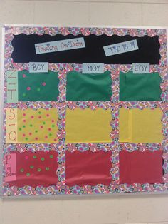 For dibels-- using Colored dots Data Bulletin Boards, Data Boards, Elementary Bulletin Boards, Bulletin Board Design, Classroom Data Wall, Classroom Organization, Classroom Ideas, Data Binders, Data Notebooks