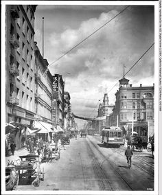 along Main Street from Fifth Street, ca. 1906 (CHS-5088) | View of downtown Los Angeles, looking north on Main Street, ca.1906 Collection: TICOR/Pierce Date: circa 1906