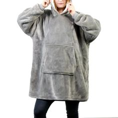 Made of ultra-soft fleece and lined with warming. One size fits all- roomy enough to cover you from head to toe Extra large hood keeps your head comfy and warm Hooded Sweater, Sweater Coats, Wig Hat, Holiday Sweater, Grey Hoodie, Warm And Cozy, One Size Fits All, Bag Accessories, Flannel