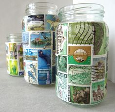 Cute jars with stamps