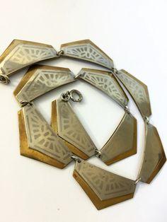 #VogueTeam #EtsyGift #vintage Arts and Crafts Necklace Vintage Art Deco Choker Geometric Mixed Metal Necklace Chrome & Brass Modernist Antique Estate Jewelry 1910-1920