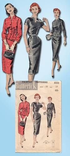 1950s Original Chic Slender Wiggle Dress Jacket Pattern Sz 38 B | eBay
