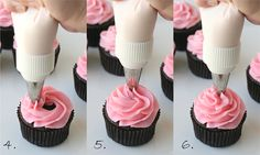 How to frost cupcakes with a beautiful swirl.