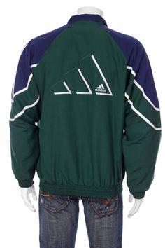 d83aa2f6c95 Vintage logo Adidas coupe-vent survêtement haut veste Big Spell Out bleu  vert