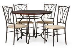 Baxton Studio Greggory Round Walnut Wood & Antiqued Bronze Metal 5-Piece Casual Dining Set