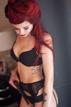 RED PINUP HAIR. guns and tattoos