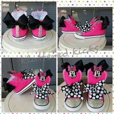 1efaae24f5d Minnie Mouse with Bow Custom Converse