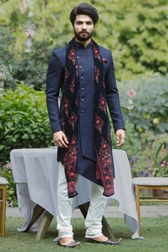 Buy Asymmetric Blue Indo Western Outfit - Contemporary wear from the house of Manyavar. Choose from a wide range of designer Indo western, Sherwani, traditional dresses for men online. Indian Wedding Clothes For Men, Sherwani For Men Wedding, Wedding Dress Men, Indian Wedding Outfits, Sherwani Groom, Men's Wedding Wear, Wedding Suits, Marriage Dress For Men, Engagement Dress For Men