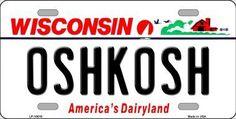 Oshkosh Wisconsin Background Novelty Metal License Plate