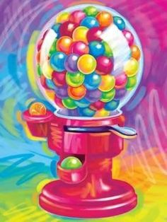 Art Print: Brushstroke Gumball by Lisa Frank : Lisa Frank Stickers, Gumball Machine, Brush Strokes, Beautiful Patterns, One Color, Fun Activities, Framed Art, Printing On Fabric, Art Prints