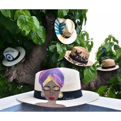 Hand-painted fedora hats for women in summer designs, feminine and above all unique Painted Hats, Hand Painted, Fedora Hat Women, Summer Design, Summer Hats, New Shows, Hats For Women, How To Make, Painting