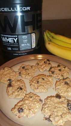 """""""Protein banana peanut butter oatmeal cookie""""  2 ripe bananas,2/3rds cup unsweetened applesauce,1/3rds cup peanut butter,tap vanilla,1scoop cellucor protein powder cinnamon swirl it really made the flavor,      1 1/2 cup quick oats, whatever nuts you like I used slivered almonds and a 1/2 cup chocochips . Few dashs of cinnamon.Bake till edges are brown"""