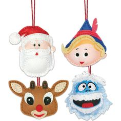 Rudolph The Red-Nosed Reindeer Ornaments Felt Applique Kit-Set Of 4