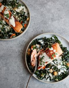 Tahini-Yogurt Sauce + Seared Salmon and Quinoa Bowls with Massaged Kale, & Chickpeas {Video} — This is the perfect easy weeknight bowl with gut-healthy whole grains, legumes, leafy greens and yogurt. Kale Recipes, Fish Recipes, Seafood Recipes, Dinner Recipes, Healthy Recipes, Dinner Ideas, Mexican Recipes, Breakfast Recipes, Leftover Salmon Recipes