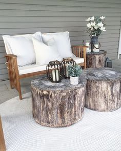 Rustic & raw touches for a simple back porch
