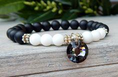 Black and White Classic Bracelet with Gemstones and Swarovski Crystal
