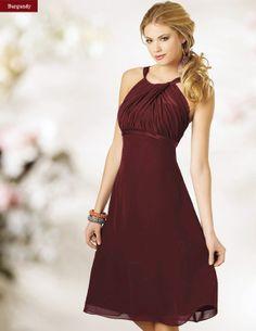 Modern Bridesmaids Dress Sleeveless Chiffon Tea Length Straps Orange Burgundy Online Wedding Party Dresses