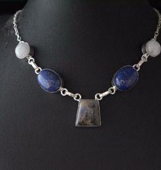 Glamorous Jasper-Rainbow Moonstone-Lapis Lazuli 925 Silver Plated Necklace E88 #valueforbucks #Bib