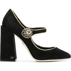 Dolce & Gabbana Mary Jane pumps (1 030 AUD) ❤ liked on Polyvore featuring shoes, pumps, black, maryjane pumps, block-heel mary janes, black shoes, black leather pumps and black pumps
