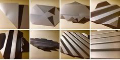 Step by step, folding thicker silver paper, reflects light, crisp lines, strong structure and shadows highlight folds.