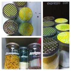 Tapas de botes de cocina customizadas: decoupage + wase tape