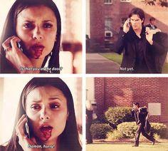 The Vampire Diaries Elena & Damon I felt bad for Elena at this part :c Vampire Diaries Quotes, Vampire Diaries Damon, Vampire Diaries The Originals, Damon Salvatore, Paul Wesley, Ian Somerhalder, Nova Orleans, Beaux Couples, Vampier Diaries
