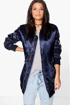 navy longline bomber jacket - Google Search