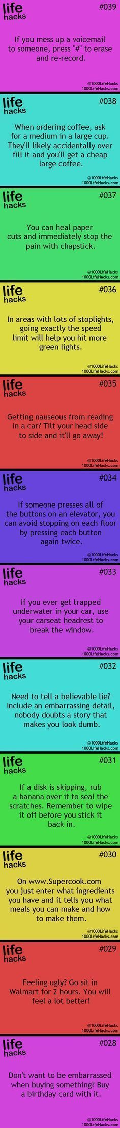 25 Useful Life Hacks… voicemail, elevator, car trapped underwater were the most useful ones