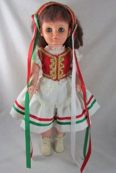 "23"" Hungarian Doll Doll Vinyl Jointed in Original Costume Vintage #DollswithClothingAccessories"