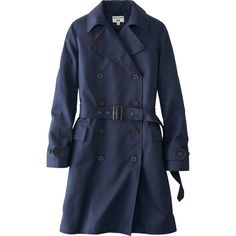 UNIQLO Women Idlf Trench Coat (£100) ❤ liked on Polyvore featuring outerwear, coats, jackets, coats & jackets, navy, trench coats, navy coat, navy trench coats, navy blue trench coat and navy blue coat