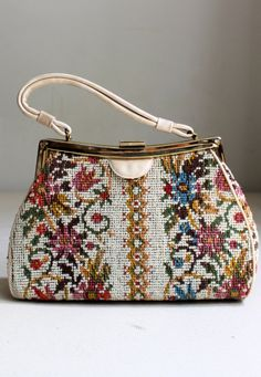 floral needlepoint handbag