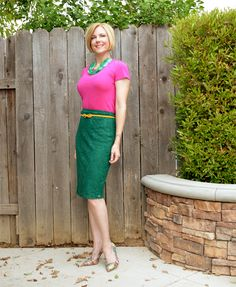 Fuchsia + green lace + striped shoes = one colorful #outfit