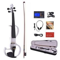 #TomTop - #TomTop ammoon VE-207 Full Size 4/4 Solid Wood Silent Electric Violin Fiddle Maple Body Ebony Fingerboard Pegs Chin Rest Tailpiece with Bow Hard Case Tuner Headphones Rosin Audio Cable Extra Strings Black - AdoreWe.com