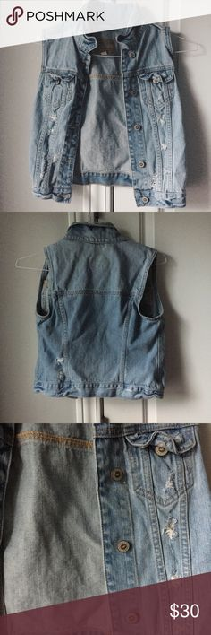 SALE NEW distressed denim jacket vest NEW. Denim jacket vest. Distressed. Cute to wear with dresses or tank tops. Fits nicely. Light wash. Button down. Hollister Jackets & Coats Jean Jackets